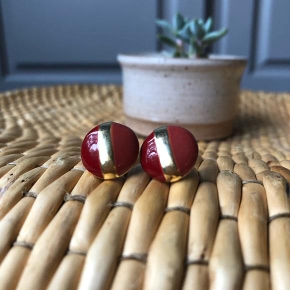 Vintage   Duotone Glazed Stud Pierced Earrings